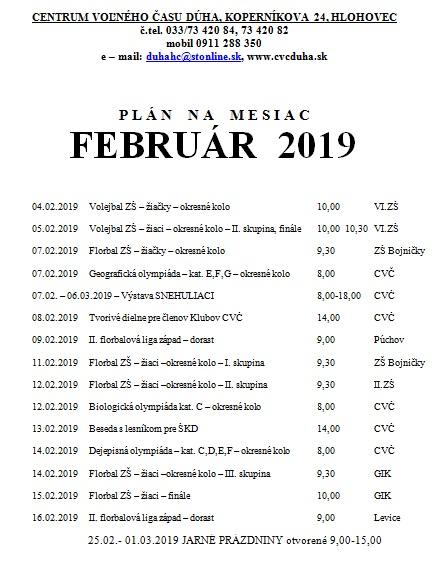acbf2bdd5364 Plán Centra voľného času DÚHA - február 2019
